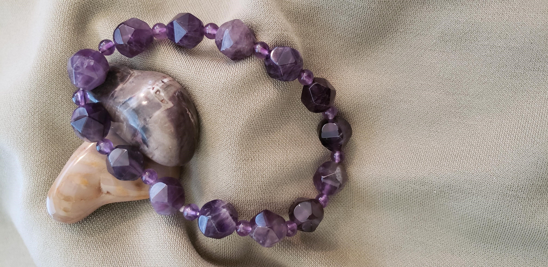 Bracelet lucky Bless Bead Yoga environ 19.05 cm 8 mm Améthyste Bleu Calcédoine Bracelet 7.5 in