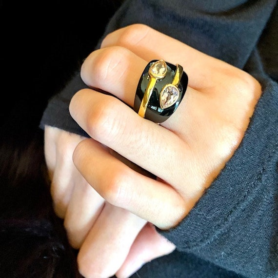 Sterling Ring with Gold tone and Black Lucite/ Sta