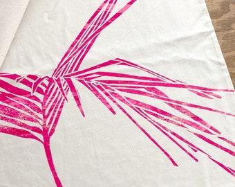 hand-printed screen printed bag with palm leaf