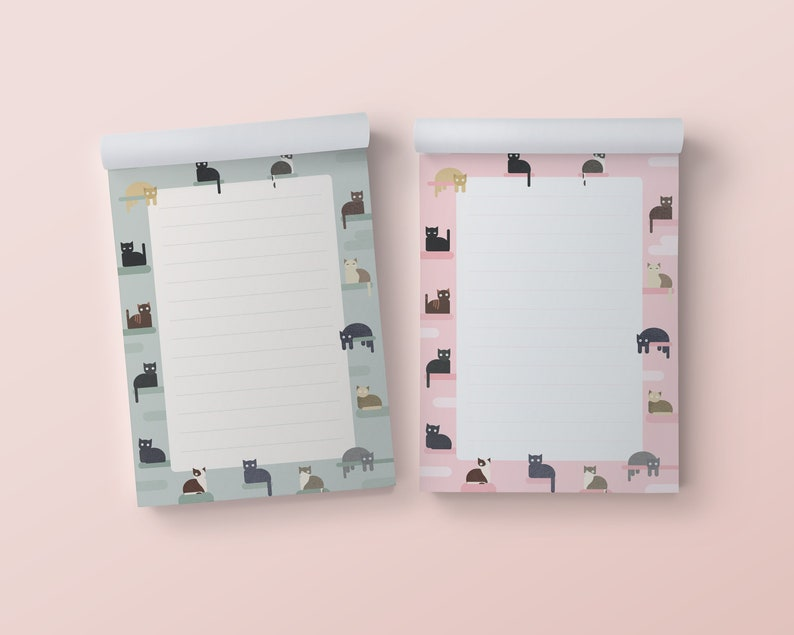 Notepads  cute cats illustrations  in pink and mint/forest image 0