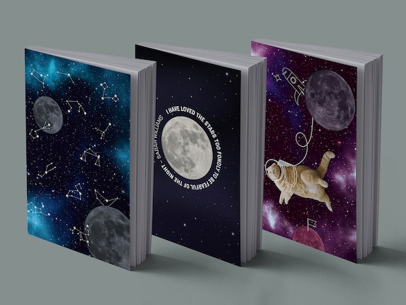 Notebook | Space cats | Zodiac sign | Moon | 13 x 20 cm