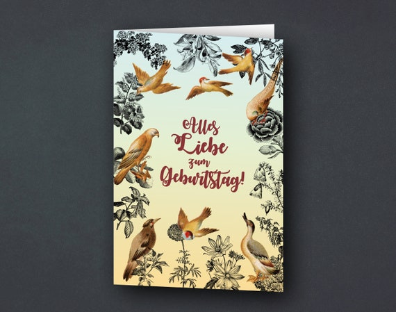Greeting card | Birthday card | Birds and plants | Vintage | yellow light blue