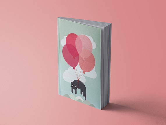 Notebook - Flying Cat with Balloons