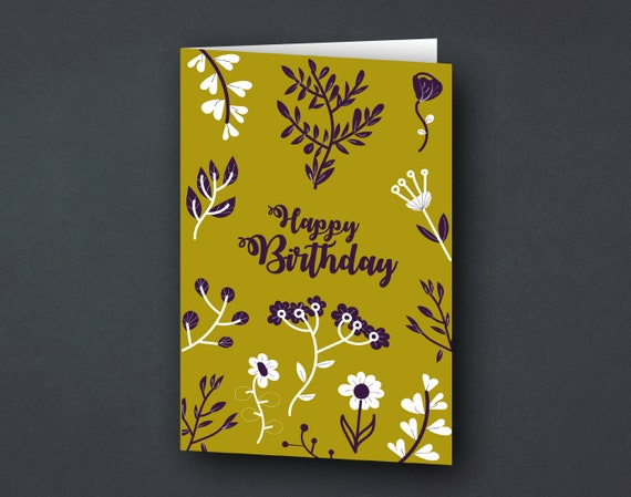 Greeting card | Birthday card | Floral Flowers & Plants | gold and purple