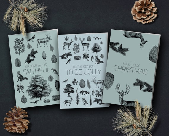 """Christmas Cards """"Vintage Forest"""""""