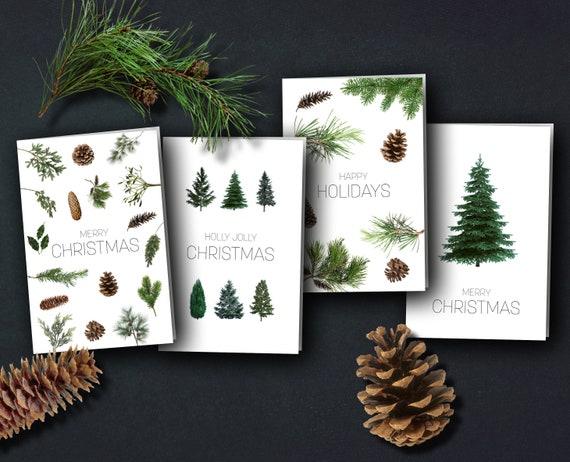 | Christmas cards Winter trees | minimalist natural trees