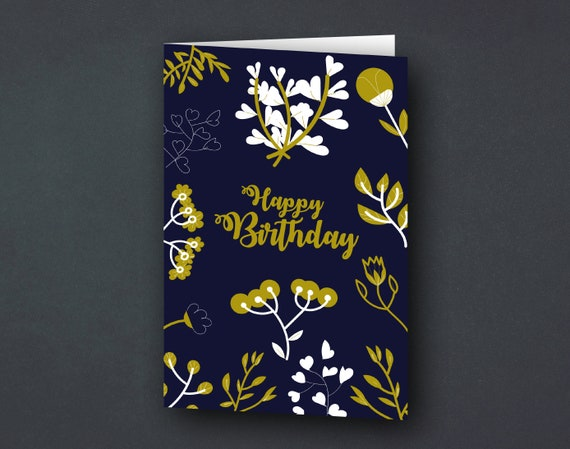 Greeting card | Birthday card | Floral flowers & plants blue and gold | illustration