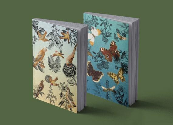 Notebook Vintage Botany Butterflies & Birds | 13 x 20 cm