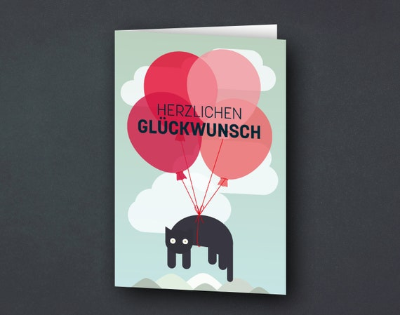"""Congratulations Card """"Flying Cat with Balloons"""", Birthday Card"""