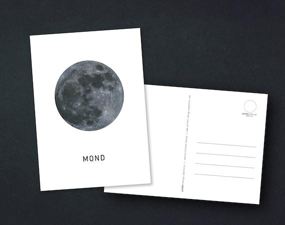Postcard - Moon, White and Minimalist, A6