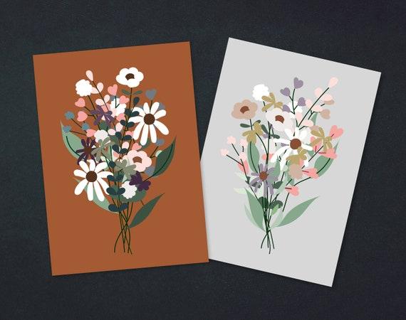 Postcard bouquet | rust or grey | A6