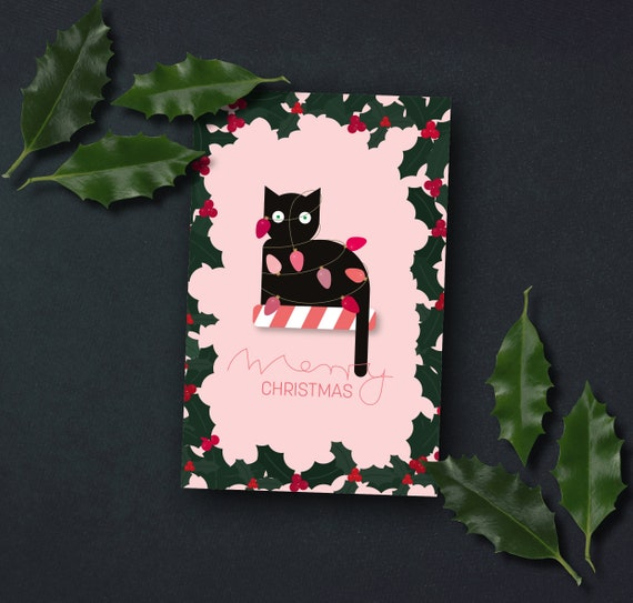 """Christmas card """"Cat with string of lights"""""""