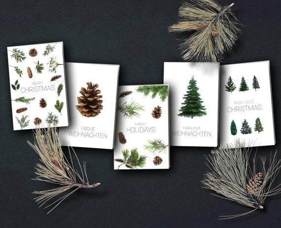   Christmas cards Winter trees   minimalist natural trees
