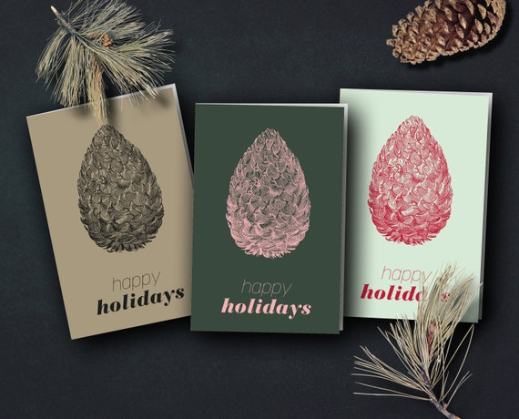 "Christmas cards ""Vintage Pine Cones"""