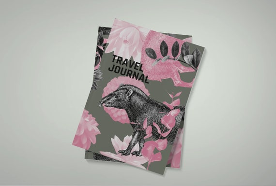 Travel diary | Vintage Tapir | Entry book in pink and camouflage | A5