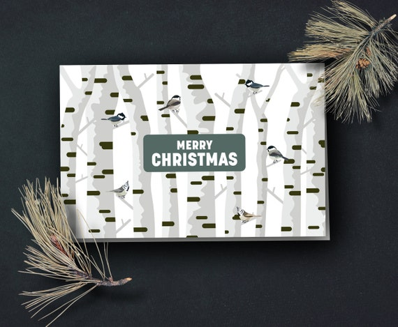 Christmas card in the Birch Forest