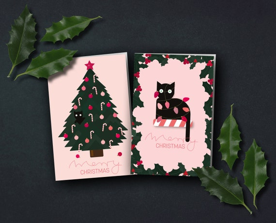 """Christmas card """"Cat with string of lights"""" or """"Cat in the Christmas tree"""""""