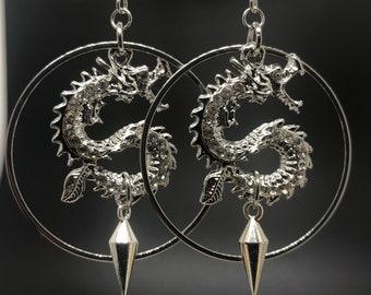Acrylic Dragon Drop Earrings Rave Goth Punk 90s Grunge Hoop Earrings Sale Dragon Earrings Y2K Boho Hip Hop Dragon Dart Blade Earrings