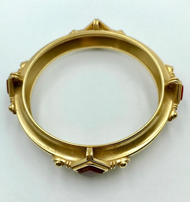A Vintage Etruscan  Art Deco style Carnelian Russian Gold plated bangle bracelet .1960s
