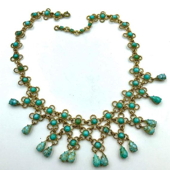Vintage French Turquoise Bib necklace