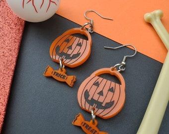 Pumpkin Candy Bucket Earrings | Halloween Earrings | Trick or Treat Earrings | Pumpkin Earrings | Acrylic Earrings | Spooky Earrings