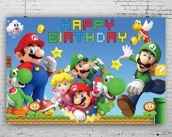 super mario banner mario party decoration printable mario mario party supplies super mario backdrop mario birthday party digital mario