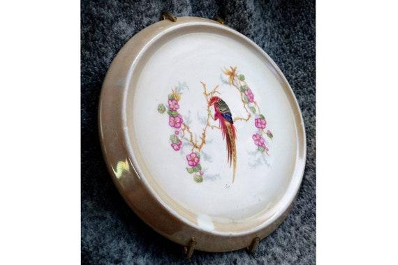 German Hand Painted Phoenix Porcelain Plate.