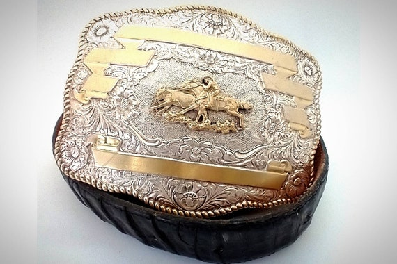Crumrine 50 Anniversary Gold and Silver Belt Buckle with Alligator Belt.