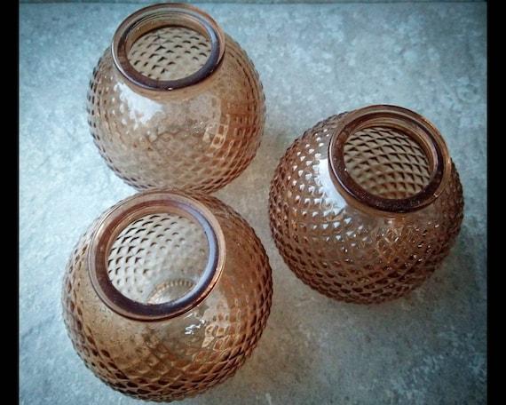 Three Small Mid Century hobnail Mini Vases/Light Covers.