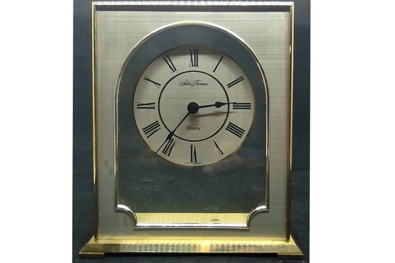 Seth Thomas Contemporary Brass and GLass Clock /Made in Germany/German CLock /German Desk CLock