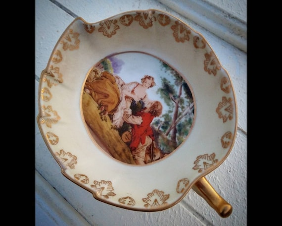Rare Antique Porcelain 19th century Hand Painted Francis Brocher Footed  Dish.