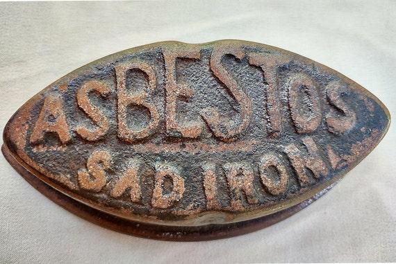 Antique Cast Iron Asbestos Sad Iron Door Stop / Paper Weight Vintage