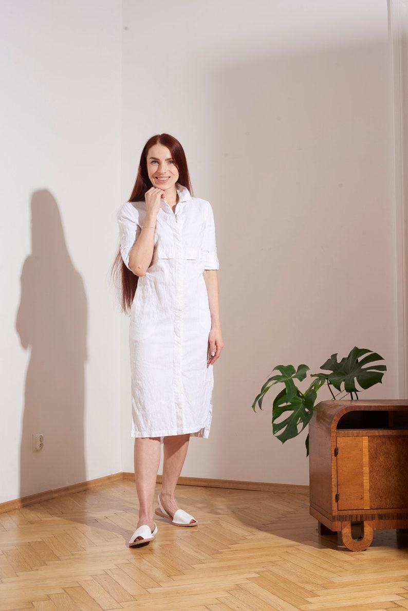 COAT HARARE linen dress bedspread collar with long sleeves 100/% polish linen pockets