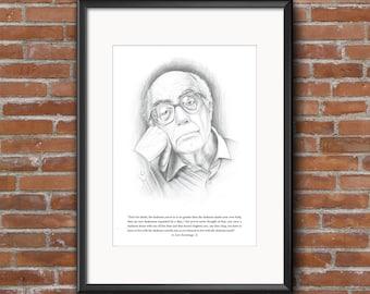 INSTANT DOWNLOAD Jose Saramago Printable Art Poster. Motivasyonel Inspirational Quote. Pencil Drawings. OVERSIZEDDigital Print.