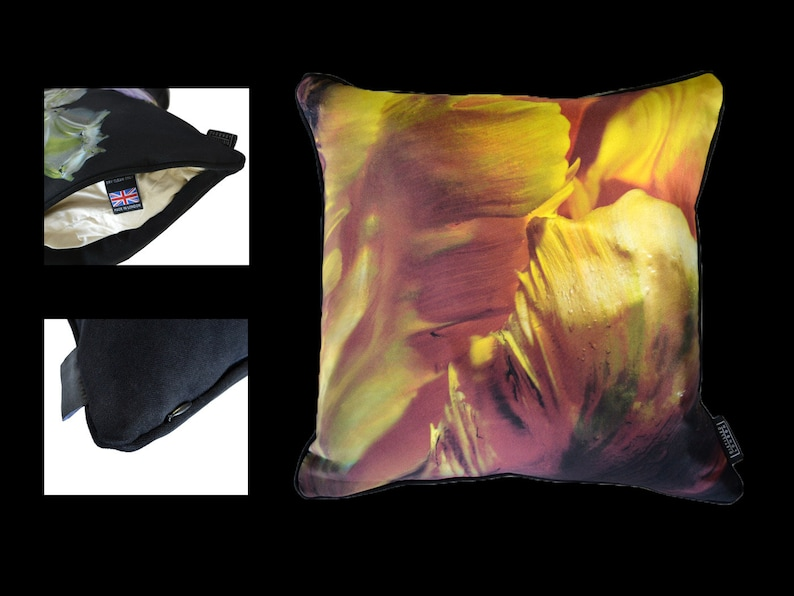 Unique Orange Floral Abstract  Silk Cushion by Alexander James image 0