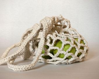 Eco-Friendly Crochet Bag, Natural Tote Bag, Hand Crafted Knitted Bag, Chunky Beach Bag, Shopping Bag, Boho Summer Bag.