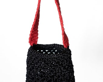 Fun Elegant Evening Bag, Party Bag, Crochet Bag made from recycled materials, Small Black Knitted Bag, Handwoven Tote Bag, Handcrafted Bag.