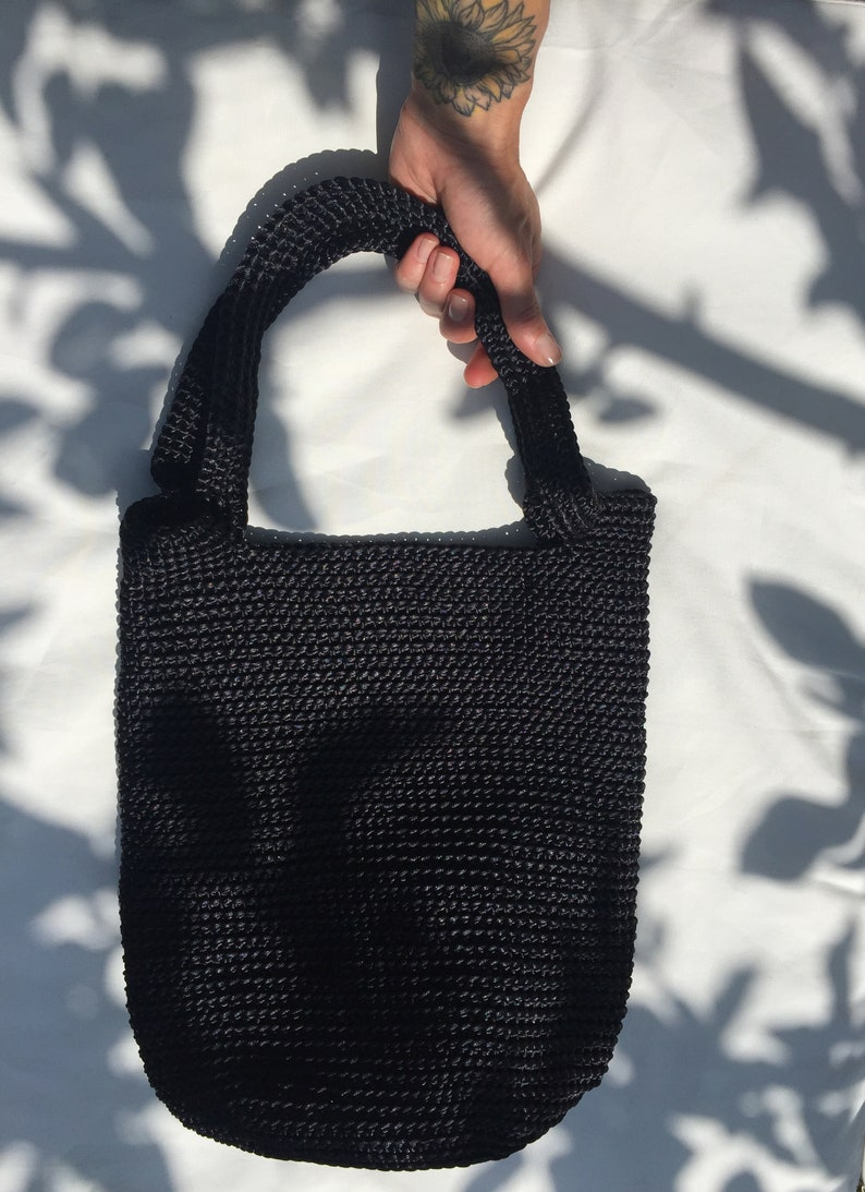 Black Crochet Shopper /Beach bag / Summer Sack / Sack Boho image 0