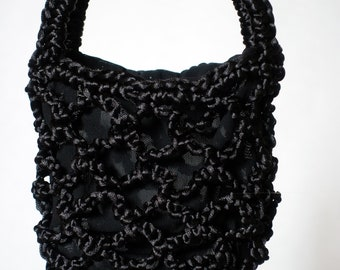 Miniature Black Bag, Corsage Bag, Minimalistic Hand Crocheted Bag, Tote Bag with liner, Hand Crafted Netbag, Evening Bag