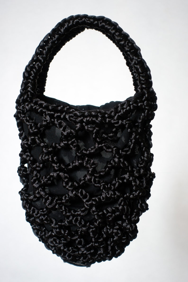 Miniature Black Bag Corsage Bag Minimalistic Hand Crocheted image 0