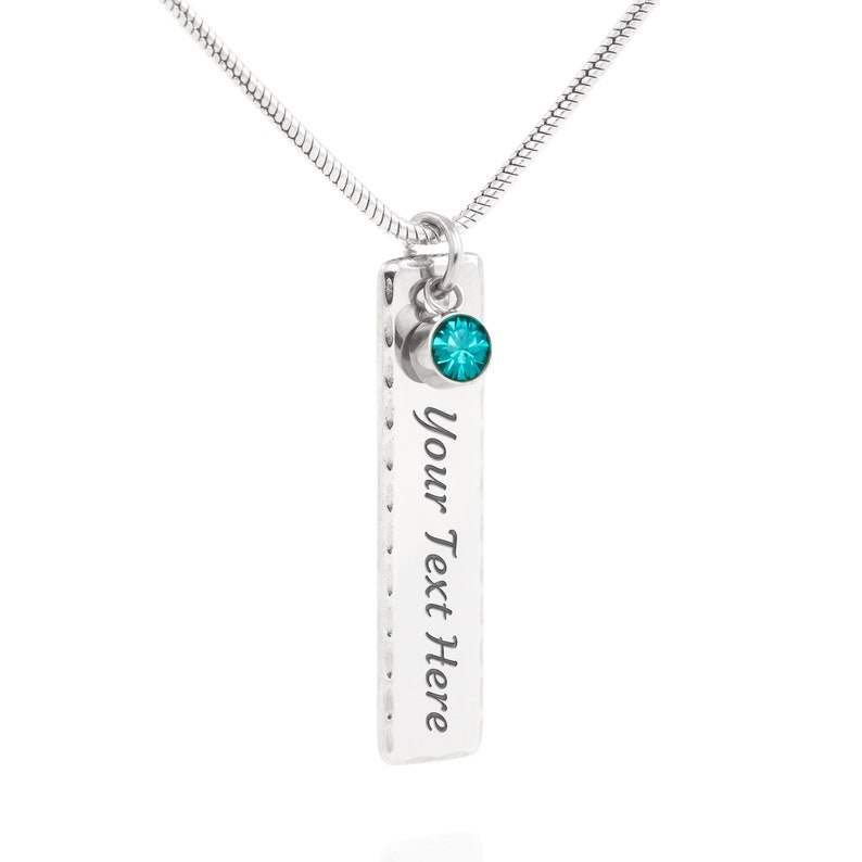 Birthstone Jewelry Birthday Personalized Gift From Mom December Birthstone Necklace Engraved Bar Birthstone Necklace for Daughter From Mom