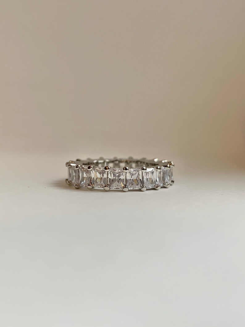 Rectangle Cut Eternity Ring l Eternity Band l Cubic Zirconia Ring l Luxury Jewelry l Accessories l Accessory l Silver jewelry l Silver Ring