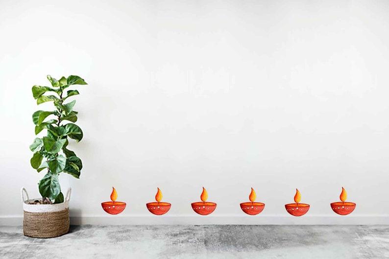 Diwali Sticker Set Easy Decal Diwali Diya Decoration Wall Art