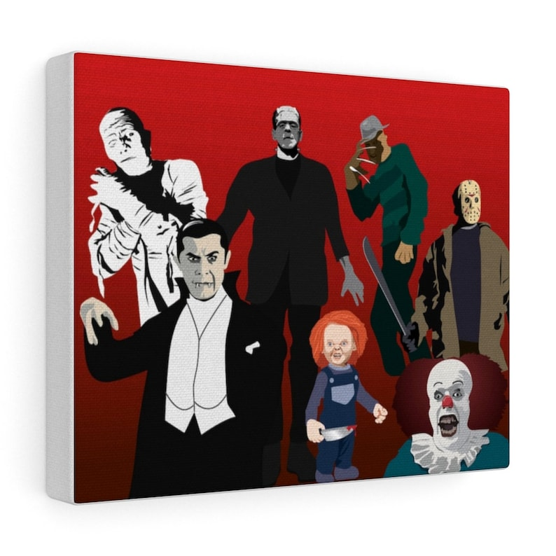 Available in Three SIzes.Great Gift For Any Horror Movie Fan. Seven Stars From Horror Films Reunite For This Reunion on a Canvas Wall Board