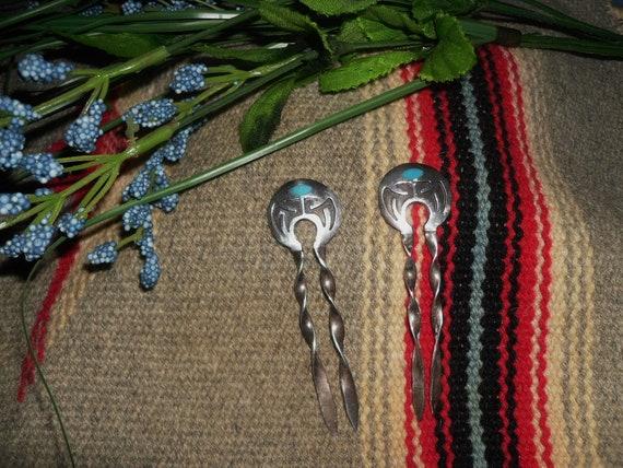 Vintage 2pcs Sterling Silver Hopi overlay Hairpins