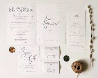 Wildflower Plantable Wedding Collection - Charity, Eco-friendly, Compostable, A5 invite, A6 Save the Date, A5 table number, Menu, Bespoke