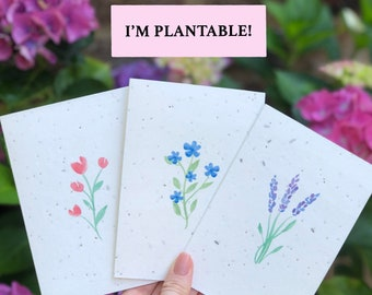 Plantable Wildflower A6 Cards - Hand-painted, Watercolour, Eco-Friendly, Biodegradable, Charity