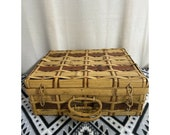 Vintage Antique Wicker Woven Suitcase Picnic Basket Storage Case Japan