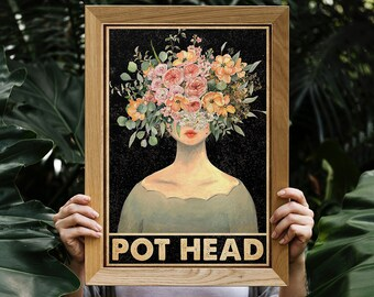 Vintage Green Pot Head Succulent Vertical Poster Art Print Decor For Home