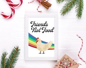 Vegan Art Compassionate Art Vegan Friends Not Food Rainbow Wall Art Vegan Plant-based Chicken Poster Hen Rainbow Chicken